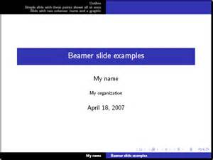 tex presentation template how can i make a slide presentation with