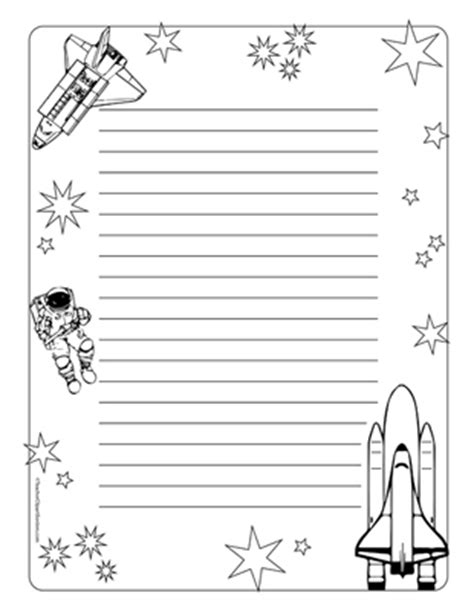lined paper with science border space travel portrait wide rule teacher clipart borders