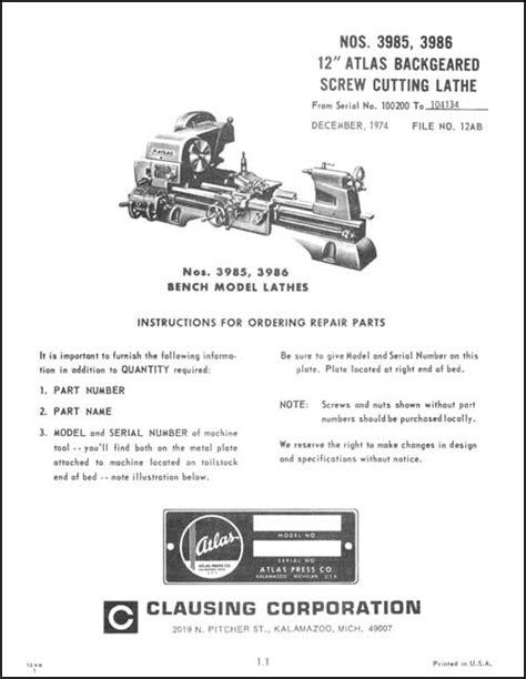 atlas lathe parts diagram atlas 3985 3986 12 inch bench lathe parts ops manual