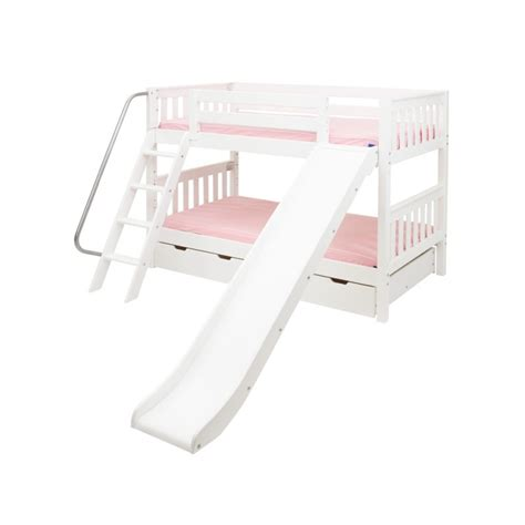 Bunk Bed W Slide Laugh Bunk Bed With Ladder Slide Solid Maple