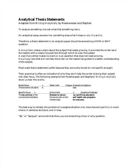 Analytical Essay Thesis Exle by Thesis Statement Template 9 Free Pdf Word Documents