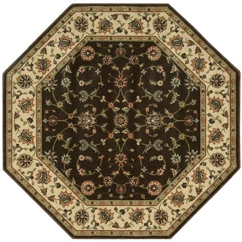octagonal area rugs nourison firouz chocolate 7 ft 9 in octagon area rug 696106 the home depot