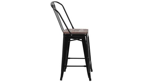 24 Inch High Stools by 24 Inch High Black Metal Counter Height Chair With Back