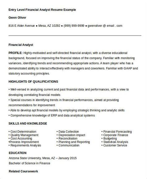 financial analyst resume exle entry level 23 finance resume templates pdf doc free premium templates
