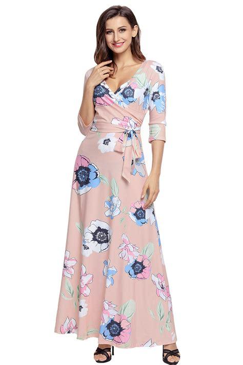 Boho Pink us 9 89 light pink floral print wrapped boho dress dropshipping
