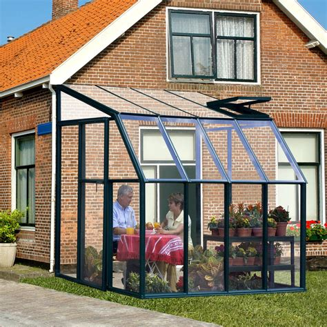 greenhouse sunroom rion sunroom clear 6 42 x 8 5 ft lean to green frame