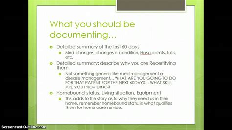 documentation basics for home health 60 day summary youtube