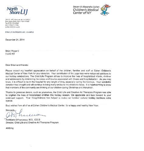 Thank You Letter For Hospital Donation I Lug Ny Donation Of Lego To Cohen Children S Center I Lug Ny