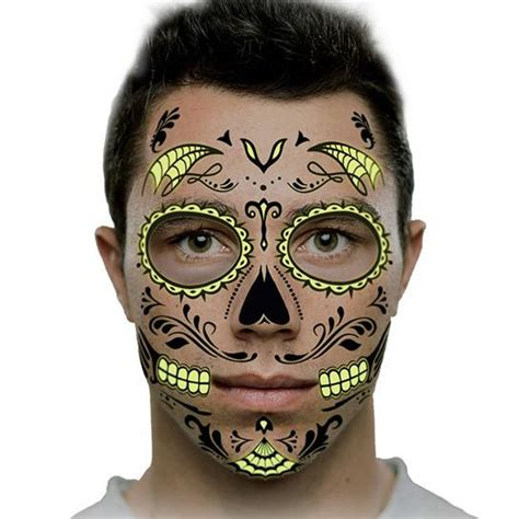 glow in the dark face tattoo glow in the dark day of the dead face temporary tattoo