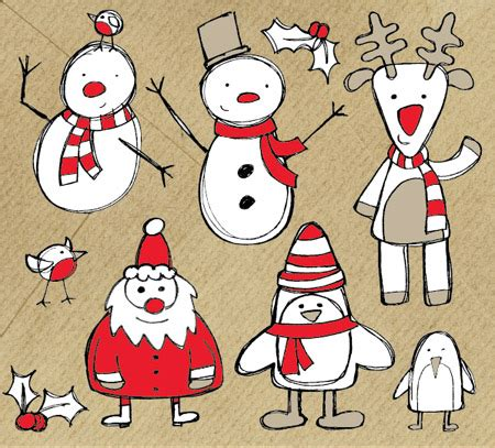 christmas themed drawing free christmas themed sketchy vector graphics pack