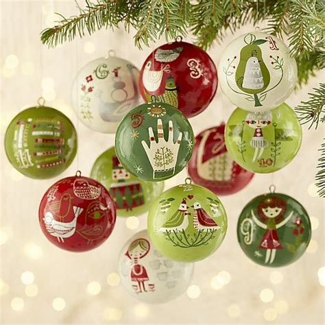 twelve days of christmas tree ornaments 12 days of ornaments set of 12 crate and barrel