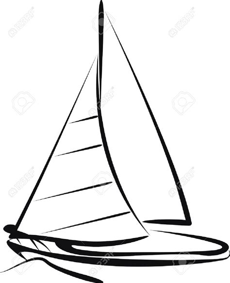 Sailboat Outline by Sailing Yacht Clipart 82