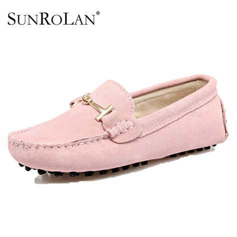 womens soft leather loafers and autumn color genuine leather
