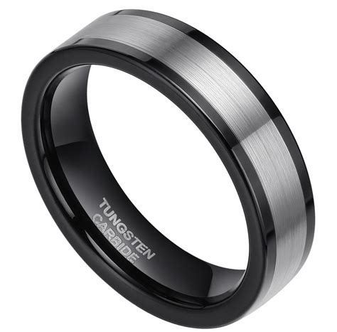 wedding band tungsten ring fashion jewelry black and
