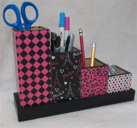 Handmade Pen Holder Design - handmade decoupage desk organizer pencil cup holder set by
