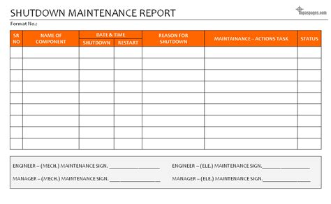 Equipment Repair Report Template Shutdown Maintenance Report
