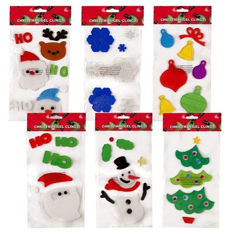 6 christmas window gel clings merry christmas happy