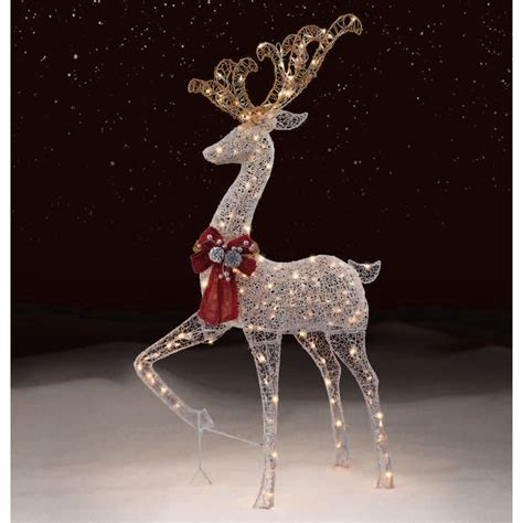 Trimming Traditions Outdoor 200 Light Silver Mesh Standing Outdoor Deer With Lights
