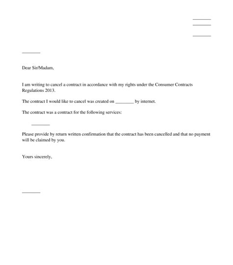 letter to cancel broadband connection letter to cancel a distance contract for services