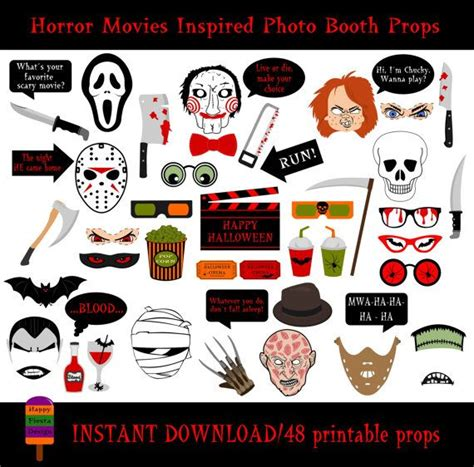free printable movie themed photo booth props horror movies photo booth props 48 pieces printable