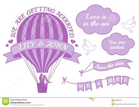 air balloon wedding invitation vector stock images