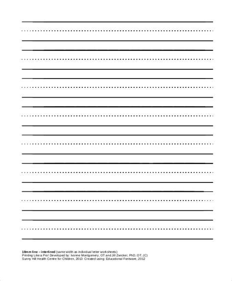 printable interlined paper sle printable lined paper 8 exles in pdf word