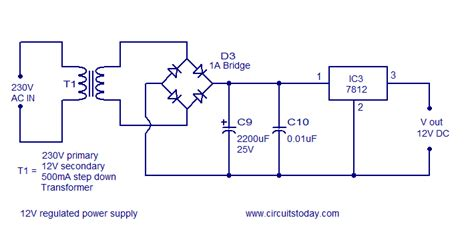 schematic diagram of regulated power supply frequency to voltage converter circuit based on the tc9400 ic