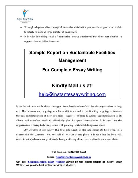 Writing A Report On Sustainability by Sle Report On Sustainable Facilities Management By Instant Essay W