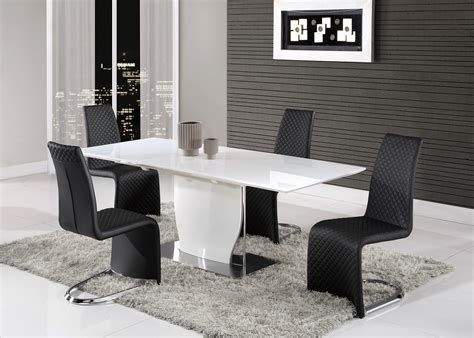 black gloss dining elegant white gloss and chrome dining table with tufted