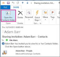 Calendar Outside Organization A Contacts Folder With Others Office Support