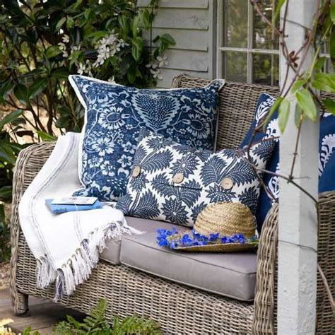 fabrics and home interiors gardens seats decor ideas blue wicker furniture