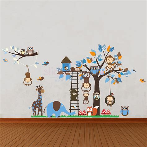 large animal wall stickers large boys animal tree and ladder wall decal