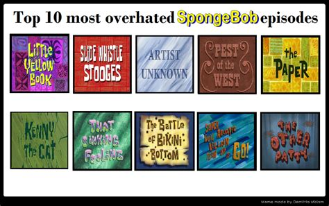 Memes Top 10 - meme top 10 overhated spongebob episodes by marioking9834