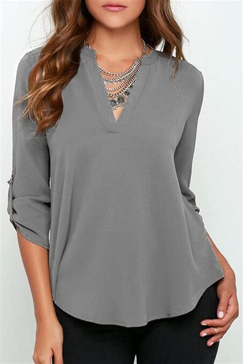 V Neck Basic Blouse White Neumor best 25 v neck blouse ideas on denim batwing