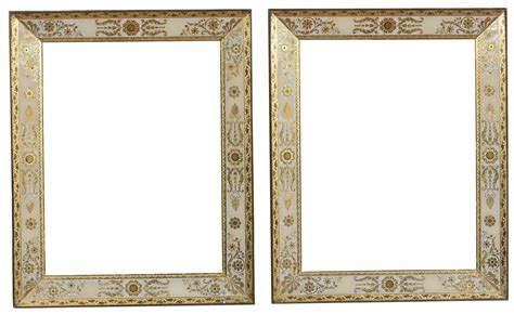cornici di vetro coppia di cornici in vetro dipinto in bianco e oro