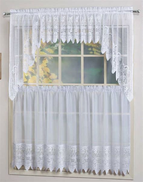 Kitchen Sheer Curtains Valerie Curtains Are A Sheer Macram 233 Combination Style The Tiers Are Sheers Embellished With