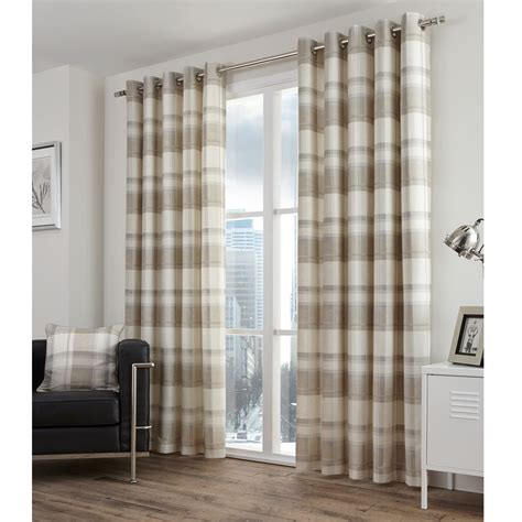 checkered curtain panels highland tartan lined eyelet curtains pair with plaid