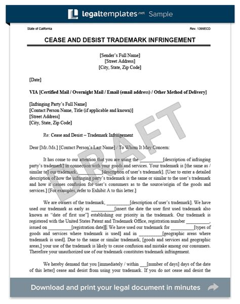 Trademark Infringement Cease And Desist Letter Template Cease And Desist Letter C D Create A Cease Desist