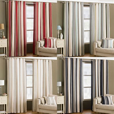 curtains broadway riva home broadway stripe woven lined eyelet curtains ebay