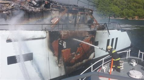 yacht kanga fire 40 metre superyacht kanga almost destroyed in fire yacht