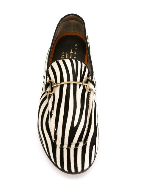 zebra loafers henderson zebra print loafers in black for lyst