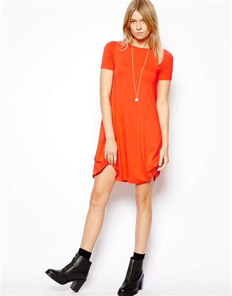 short swing dress asos swing dress with short sleeves in natural lyst