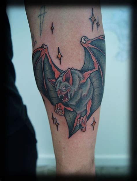 traditional bat tattoo custom neo traditional bat color forearm filler