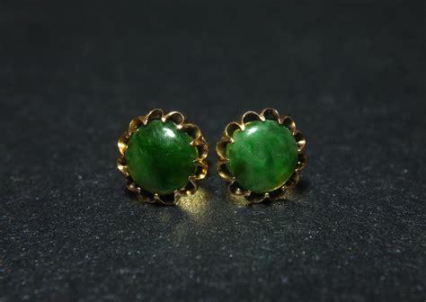 dark jade dark green jade stud earrings antique peranakan jewellery