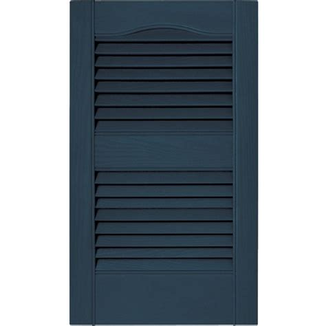 Builders Edge 15 In X 48 In Louvered Vinyl Exterior Home Depot Exterior Shutters