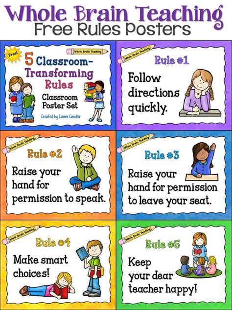 printable poster classroom rules free whole brain teaching classroom rules posters from