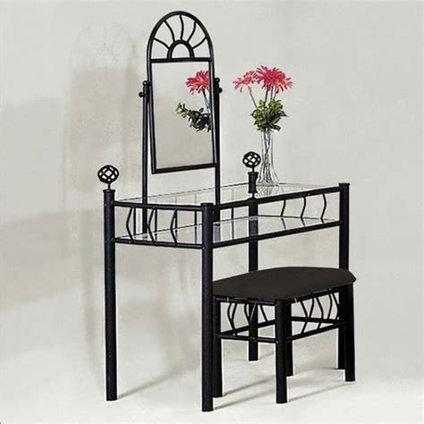 black vanity table with mirror and bench http stores ebay com furnituremail black metal vanity table mirror and stool bench set