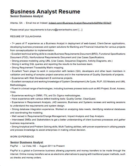 Senior Business Analyst Resume by Business Analyst Resume Template 15 Free Sles