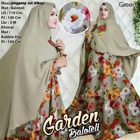 gamis balotelli payung motif bunga garden model baju