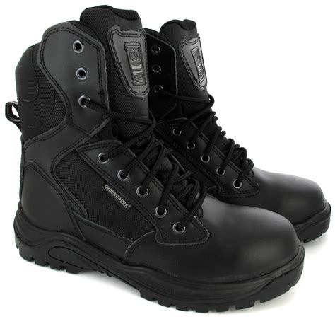 mens swat combat work army safety boots